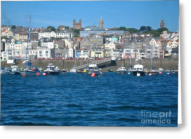 Buildings In The Harbor Greeting Cards - St Peters Port Guernsey  Greeting Card by Phyllis Kaltenbach