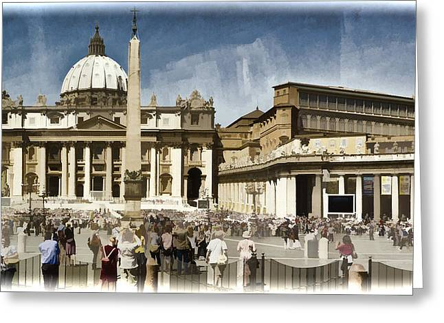 Cupola Greeting Cards - St Peters Square - Vatican Greeting Card by Jon Berghoff