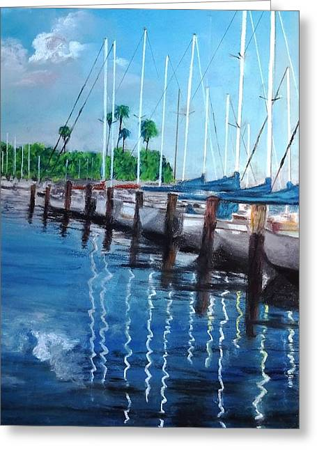 Downtown Pastels Greeting Cards - St. Petersburg Marina Greeting Card by Vincent Mancuso