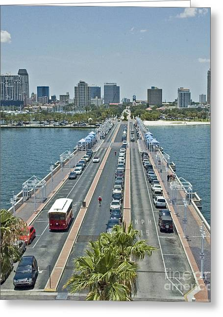 Citys Greeting Cards - St Petersburg Pier Greeting Card by Dennis Tyler