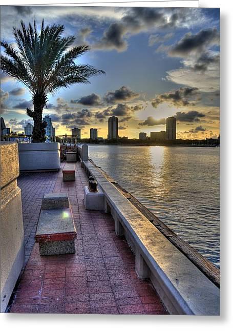 St Petersburg Florida Greeting Cards - St. Petersburg Pier Greeting Card by Timothy Lowry