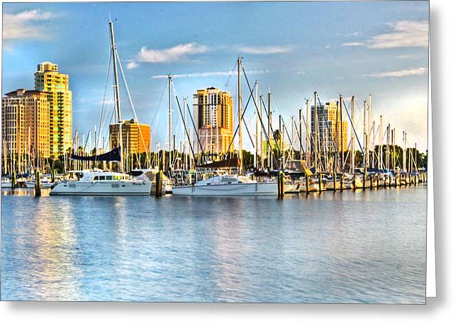 Surf City Greeting Cards - St. Petersburg Skyline Greeting Card by Kandy Hurley