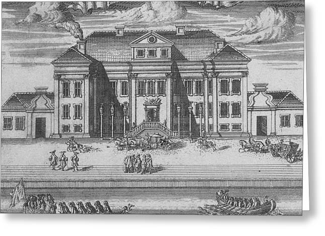 St Petersburg Greeting Cards - St. Petersburg. View Of The Winter Palace Of Peter I, 1716 Etching Greeting Card by Alexei Fyodorovich Zubov