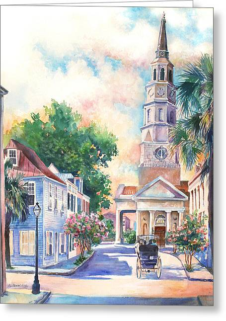 Palmetto Trees Greeting Cards - St. Philips Episcopal Church Greeting Card by Alice Grimsley