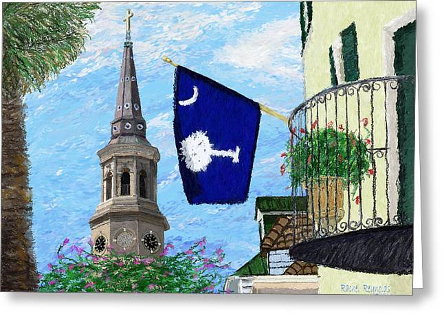 Steeple Mixed Media Greeting Cards - St Phillips Church Steeple Greeting Card by Rachel  Reynolds