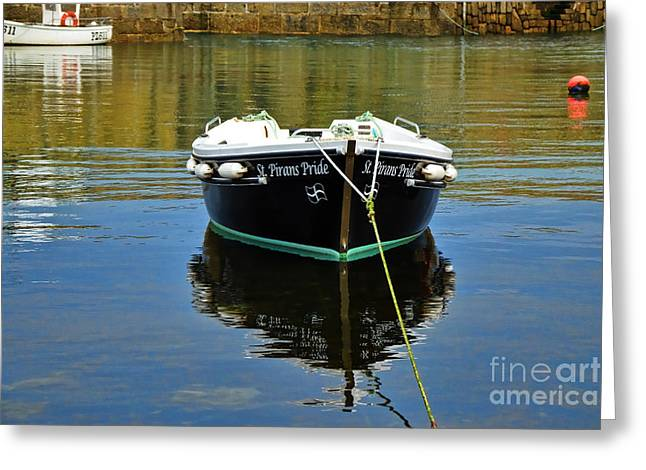 St Piran Greeting Cards - St Pirans Pride In Mousehole Harbour Greeting Card by Susie Peek