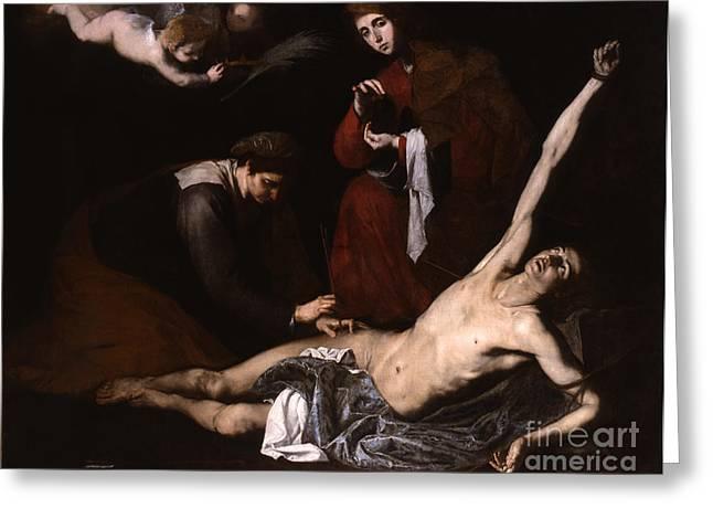 St Sebastian Greeting Cards - St Sebastian cured by the Holy Women Greeting Card by Jose de Ribera