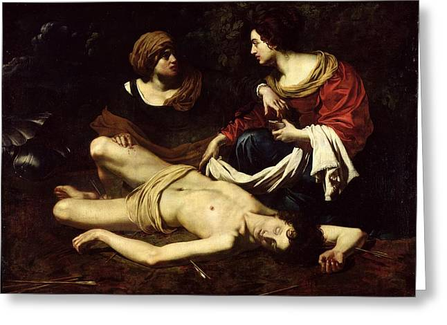 Martyrs Photographs Greeting Cards - St. Sebastian Tended By St. Irene Oil On Canvas Greeting Card by Nicolas Regnier