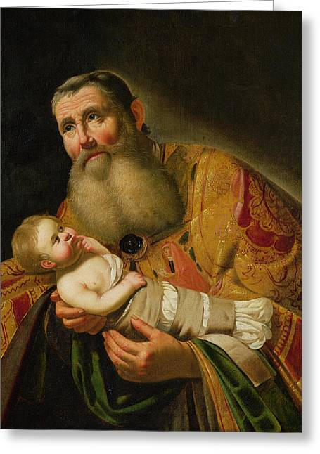 Christ Child Greeting Cards - St. Simeon Presenting The Infant Christ In The Temple Oil On Canvas Greeting Card by Jan van Bijlert or Bylert