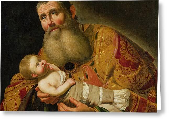 St Simeon Presenting The Infant Christ In The Temple  Greeting Card by Jan van Bijlert or Bylert