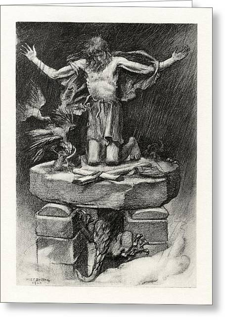 1916 Drawings Greeting Cards - St Simeon Stylites Greeting Card by Celestial Images
