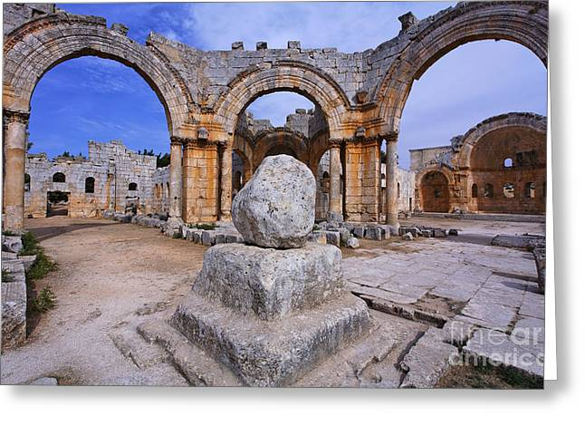 Qalat Greeting Cards - St Simeons pillar in the ruins of the church of St Simeon Syria Greeting Card by Robert Preston