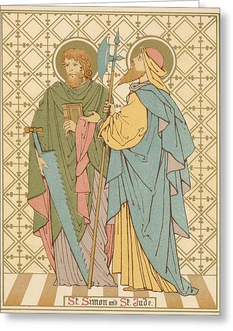 Red Letter Days Greeting Cards - St Simon and St Jude Greeting Card by English School