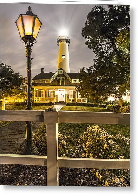 Night Lamp Greeting Cards - St. Simons Lighthouse Greeting Card by Debra and Dave Vanderlaan