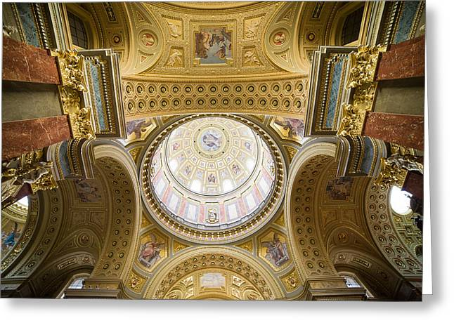 Cupola Greeting Cards - St Stephen Basilica Interior Ceiling in Budapest Greeting Card by Artur Bogacki