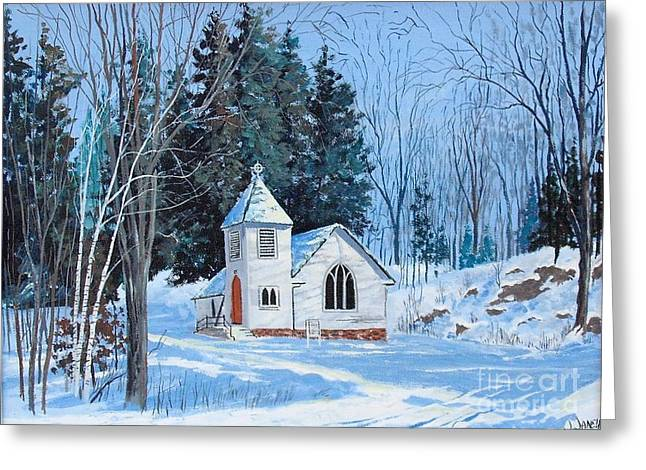 Buttermilk Falls Greeting Cards - St. Stephens Anglican Church Bedford Mills Greeting Card by Jim Janeway