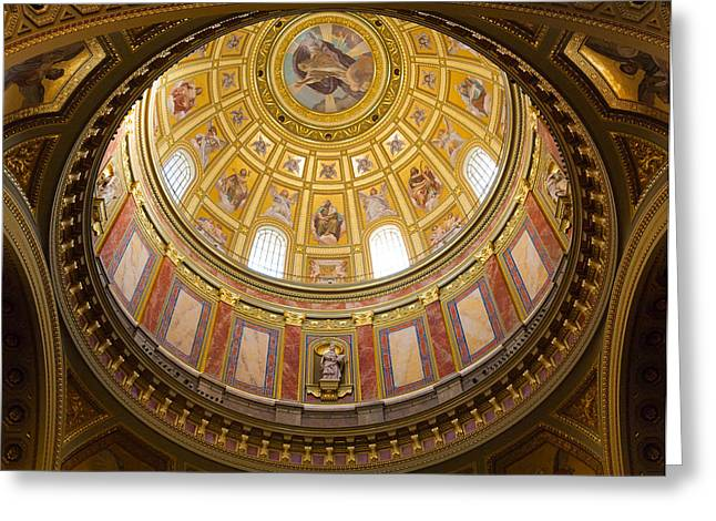 Religious Artwork Photographs Greeting Cards - St. Stephens Basilica Ceiling Greeting Card by Dave Bowman