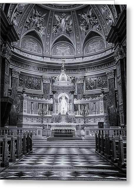 Historic Statue Greeting Cards - St Stephens Basilica Interior Budapest BW Greeting Card by Joan Carroll