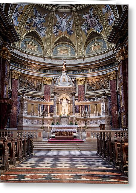Historic Statue Greeting Cards - St Stephens Basilica Interior Budapest Greeting Card by Joan Carroll