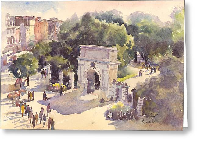 print Paintings Greeting Cards - St Stephens Green Greeting Card by Keith W Thompson