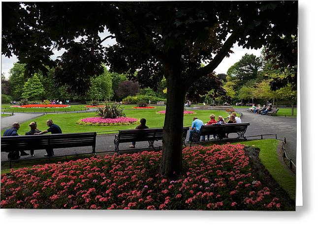 Conversations Greeting Cards - St Stephens Green Park, Dublin City Greeting Card by Panoramic Images