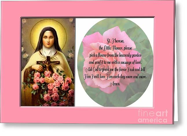 Jesus With A Child Greeting Cards - St. Theresa Prayer with Pink Border Greeting Card by Barbara Griffin