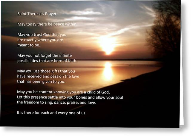 Mother Theresa Greeting Cards - St. Theresas Prayer Greeting Card by Ric Potvin