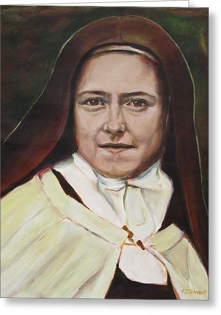 Christian work Paintings Greeting Cards - St. Therese of Lisieux Greeting Card by Sheila Diemert