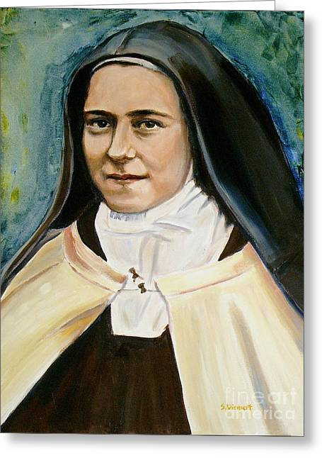 Christian work Paintings Greeting Cards - St. Therese Greeting Card by Sheila Diemert
