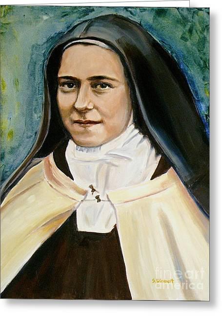 Sheila Diemert Paintings Greeting Cards - St. Therese Greeting Card by Sheila Diemert