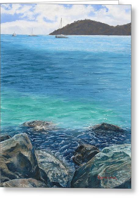 Thomas Pastels Greeting Cards - St. Thomas Blues Greeting Card by Angela Bruskotter