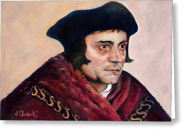 Catholic work Paintings Greeting Cards - St. Thomas More Greeting Card by Sharon Clossick