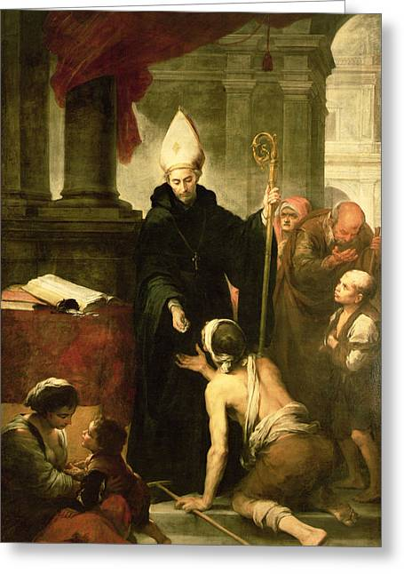 Money Greeting Cards - St. Thomas Of Villanueva Distributing Alms, 1678 Oil On Canvas Greeting Card by Bartolome Esteban Murillo