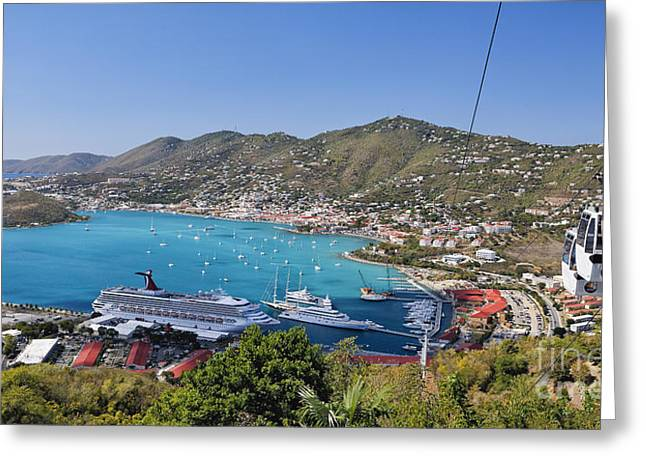 Charlotte Greeting Cards - St Thomas Panorama Greeting Card by George Oze