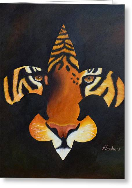 Lsu Greeting Cards - St. Tiger Greeting Card by Nina Stephens