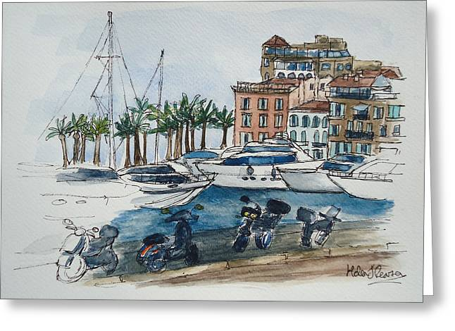 South Of France Mixed Media Greeting Cards - St Tropez Greeting Card by Helen J Pearson