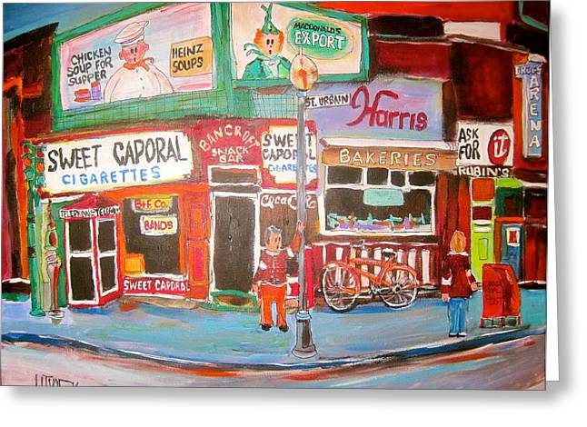 Heinz Paintings Greeting Cards - St. Urbain and Mount Royal Montreal Memories Greeting Card by Michael Litvack