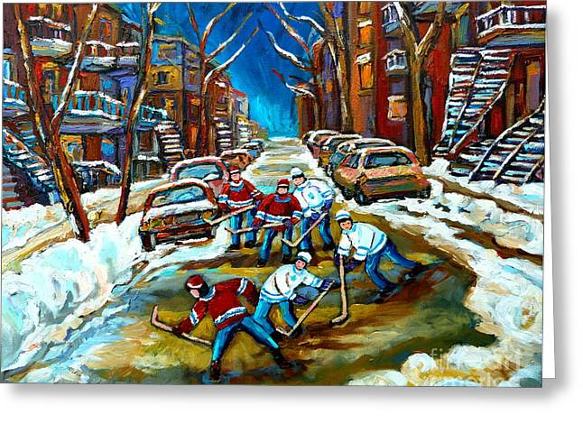Montreal Streetscenes Paintings Greeting Cards - St Urbain Street Boys Playing Hockey Greeting Card by Carole Spandau