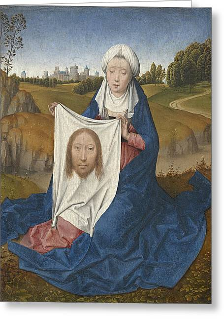 Veiled Greeting Cards - St. Veronica, C.1470-1475 Oil On Panel Greeting Card by Hans Memling