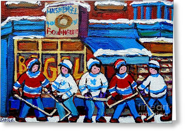 Bagel Shops Greeting Cards - St Viateur Bagel Hockey Game Montreal City Scene Greeting Card by Carole Spandau