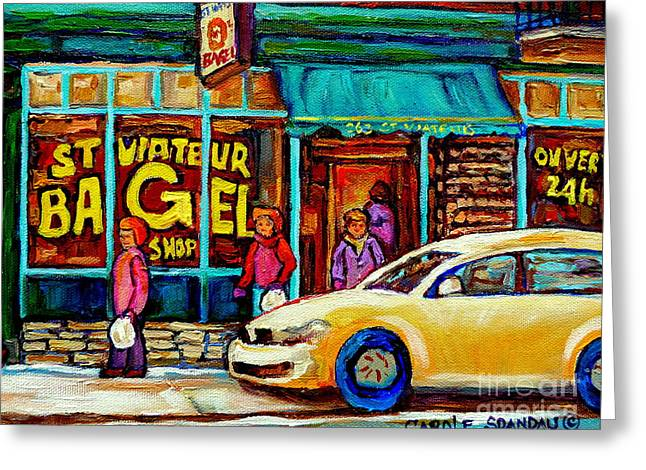 Lox Greeting Cards - St. Viateur Famous Bagel Shop In Winter Montreal Street Scene Painting By Carole Spandau Greeting Card by Carole Spandau