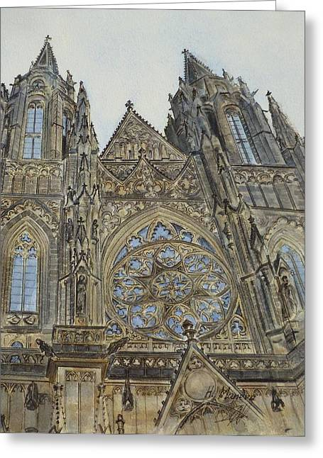Prague Paintings Greeting Cards - St. Vitus Cathedral Greeting Card by Henrieta Maneva
