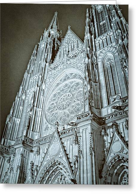 Rose Tower Greeting Cards - St Vitus Cathedral Rose Window at Night Greeting Card by Joan Carroll