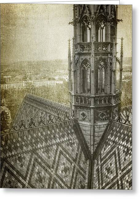 St Vitus Cathedral South Tower View Greeting Card by Joan Carroll