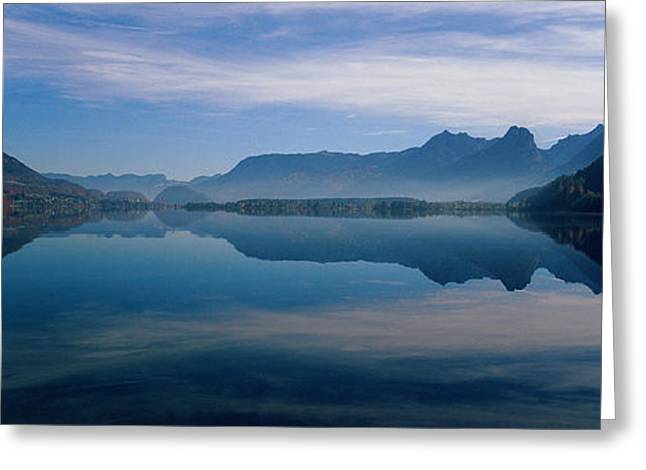 Mountain Greeting Cards - St. Wolfgangsee And Alps Salzkammergut Greeting Card by Panoramic Images