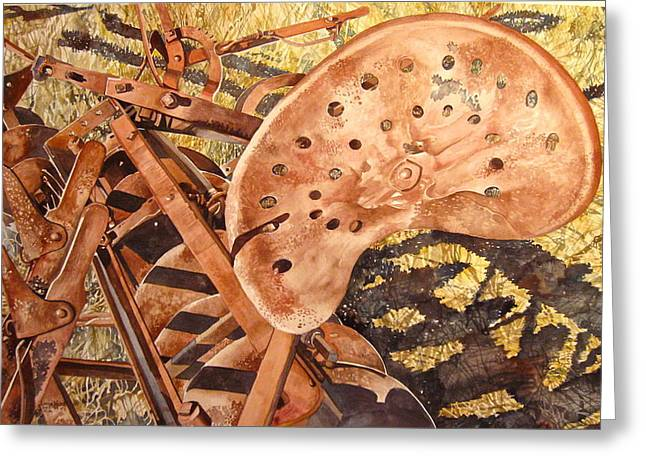 Disk Paintings Greeting Cards - St. X Disk Greeting Card by Lance Wurst