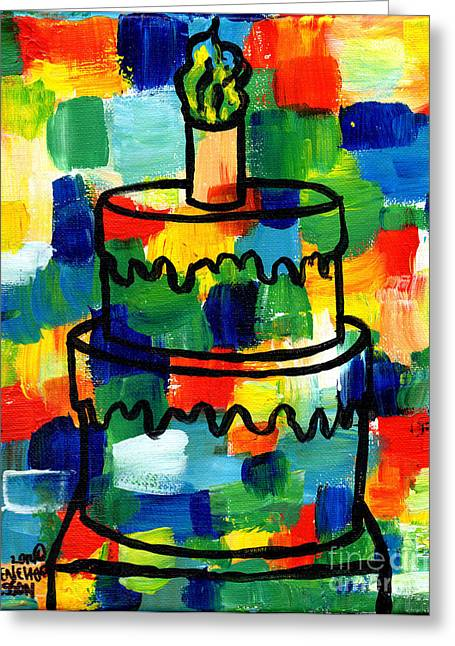 Esson Greeting Cards - STL250 Birthday Cake Abstract Greeting Card by Genevieve Esson