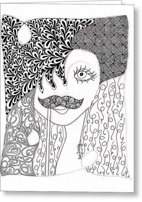 Teen Fashion Greeting Cards - Stache Lady Greeting Card by Paula Dickerhoff