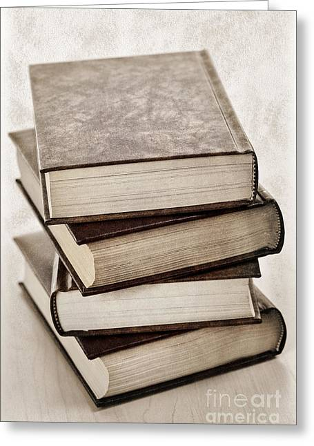 Hardcover Greeting Cards - Stack of books Greeting Card by Elena Elisseeva