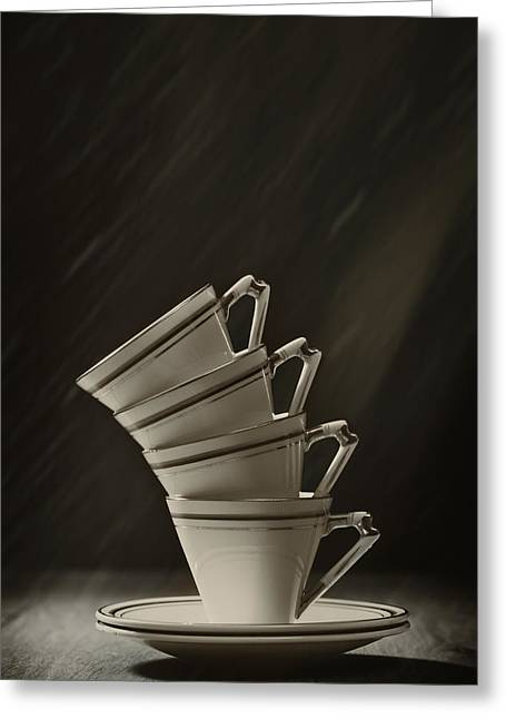Coffee Drinking Greeting Cards - Stack Of Cups Greeting Card by Amanda And Christopher Elwell